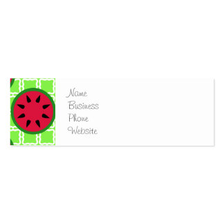 Bright Summer Picnic Watermelons on Green Squares Double-Sided Mini Business Cards (Pack Of 20)