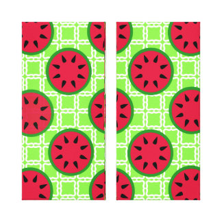 Bright Summer Picnic Watermelons on Green Squares Gallery Wrapped Canvas