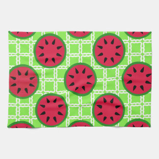 Bright Summer Picnic Watermelons on Green Squares Hand Towel