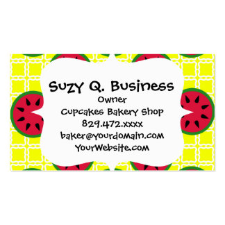 Bright Summer Picnic Watermelons on Yellow Squares Business Card Templates