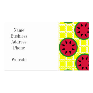 Bright Summer Picnic Watermelons on Yellow Squares Double-Sided Standard Business Cards (Pack Of 100)