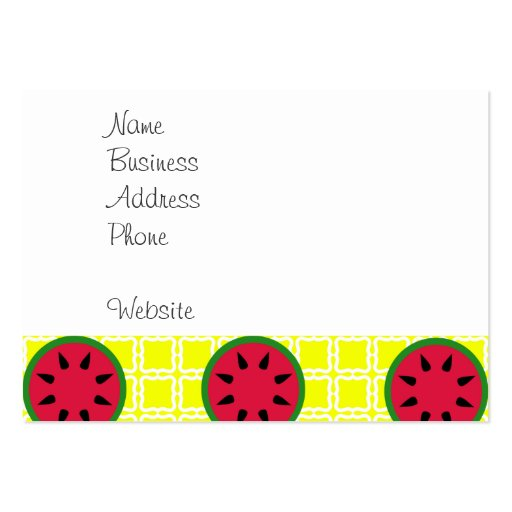 Bright Summer Picnic Watermelons on Yellow Squares Business Cards