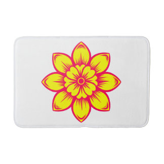 Bright Summer Pink and Flower Bath Mats