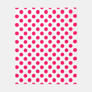 Bright Summer Pink Polka Dots on White Fleece Blanket