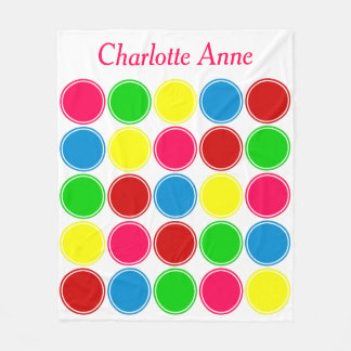 Bright Summer Polka Dots on White Personalized Fleece Blanket