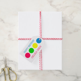 Bright Summer Polka Dots on White Personalized Gift Tags