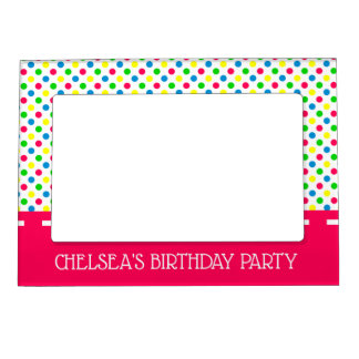 Bright Summer Polka Dots on White Personalized Magnetic Frame