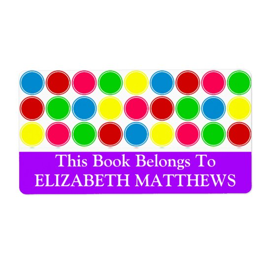 Bright Summer Polka Dots With Purple Bookplate