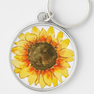 Bright Summer Sunflower Watercolor Key Ring