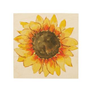 Bright Summer Sunflower Watercolor Wood Print