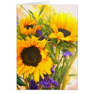 Bright Sunflower Bouquet Thank You Card