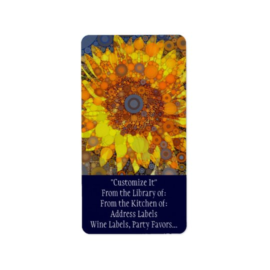 Bright Sunflower Circle Mosaic Digital Art Print Address Label