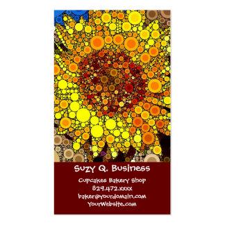 Bright Sunflower Circle Mosaic Digital Art Print Business Card