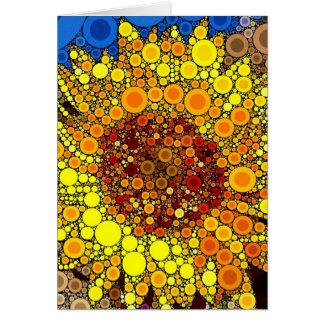 Bright Sunflower Circle Mosaic Digital Art Print Card