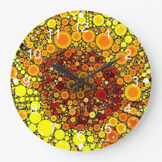 Bright Sunflower Circle Mosaic Digital Art Print Large Clock