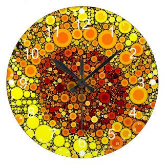 Bright Sunflower Circle Mosaic Digital Art Print Large Clock