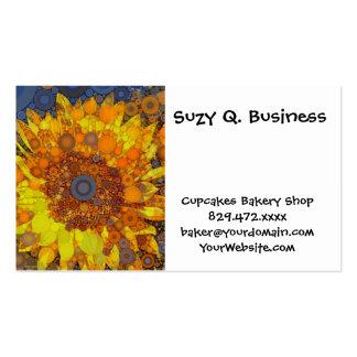 Bright Sunflower Circle Mosaic Digital Art Print Pack Of Standard Business Cards