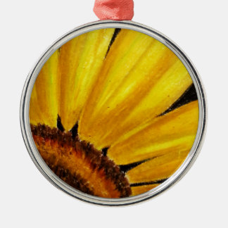 Bright Sunflower - Oil pastel print Silver-Colored Round Decoration
