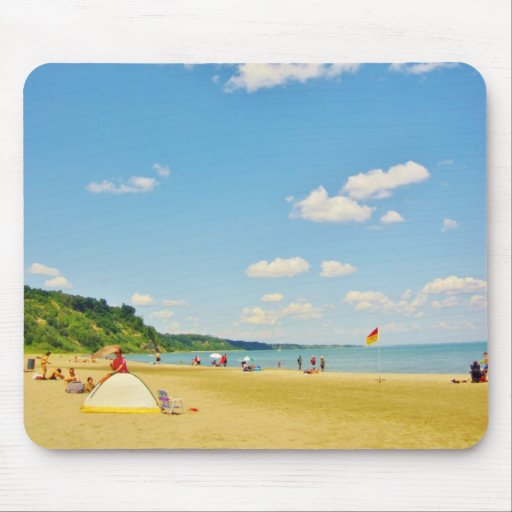 Bright Sunny Beach Day Mouse Pads