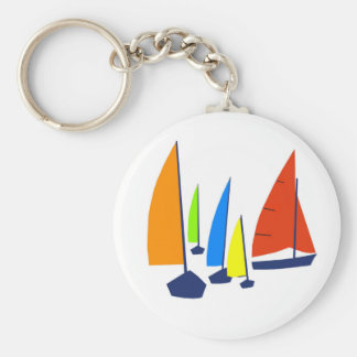 Bright Sunny Sailboats Key Ring