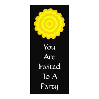 Bright sunny yellow flower. On Black. 10 Cm X 24 Cm Invitation Card