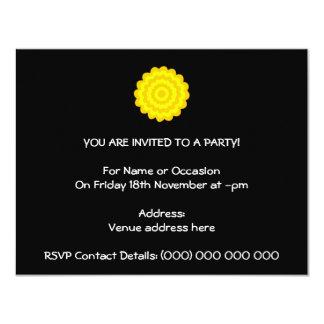 Bright sunny yellow flower. On Black. 4.25x5.5 Paper Invitation Card