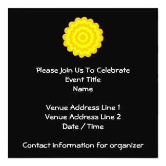 Bright sunny yellow flower. On Black. 5.25x5.25 Square Paper Invitation Card