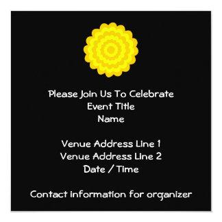 Bright sunny yellow flower. On Black. Custom Invitations