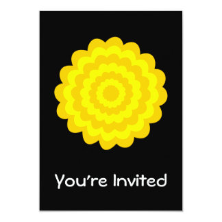 Bright sunny yellow flower. On Black. 5x7 Paper Invitation Card