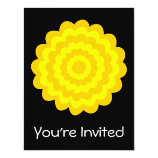 Bright sunny yellow flower. On Black. 4.25x5.5 Paper Invitation Card