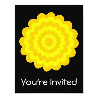 Bright sunny yellow flower. On Black. Invitations