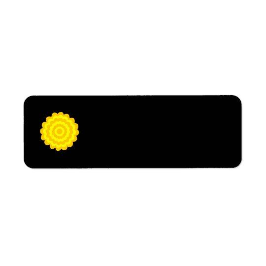 Bright sunny yellow flower. On Black. Return Address Label