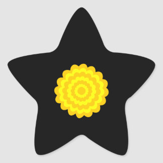 Bright sunny yellow flower. On Black. Star Stickers