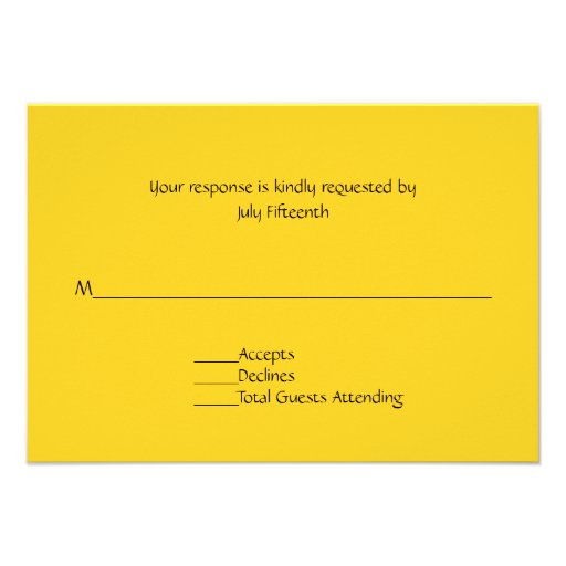 Bright Sunny Yellow Wedding RSVP Card Personalized Invite