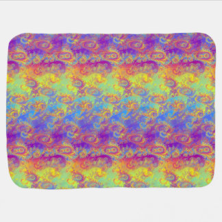 Bright Swirl Fractal Patterns Rainbow Psychedelic Baby Blanket