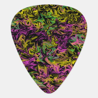 Bright Swirls of Color on Black Background Plectrum