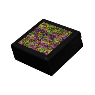 Bright Swirls of Pink Green and Yellow on Black Small Square Gift Box