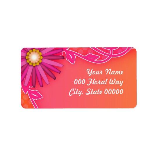 Bright Tangerine Orange and Pink Wedding Address Label