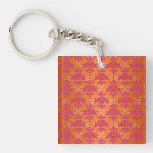 Bright Tangerine Tango Damask Orange Pink Acrylic Keychain