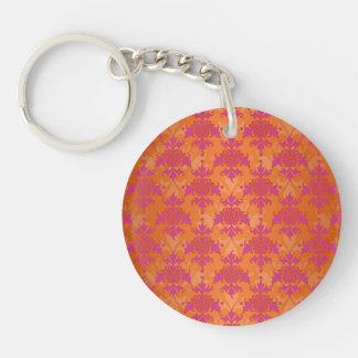 Bright Tangerine Tango Damask Orange Pink Single-Sided Round Acrylic Key Ring