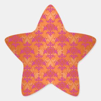 Bright Tangerine Tango Damask Orange Pink Star Sticker