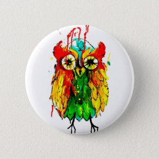 Bright tattoo ink owl colour painting 6 cm round badge