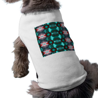 Bright teal red pattern design pet clothes