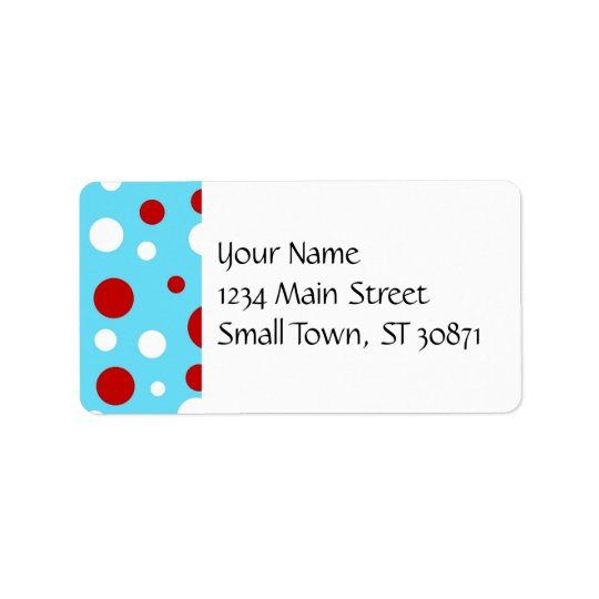Bright Teal Turquoise Red White Polka Dots Pattern Address Label