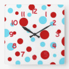 Bright Teal Turquoise Red White Polka Dots Pattern Square Wall Clock