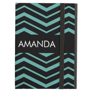 Bright Teal Zig Zag Striped Geometric Pattern Cover For iPad Air