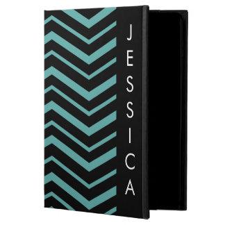 Bright Teal Zig Zag Striped Geometric Pattern iPad Air Cover