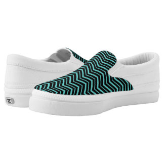 Bright Teal Zig Zag Striped Geometric Pattern Slip-On Shoes