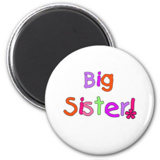 Bright Text Big Sister 6 Cm Round Magnet
