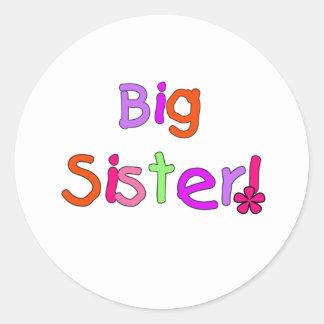 Bright Text Big Sister Classic Round Sticker